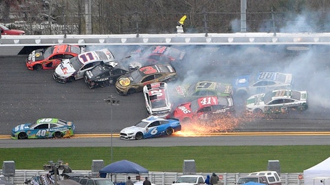<p>               Martin Truex Jr. (19), Denny Hamlin (11), Kevin Harvick (4), Austin Dillon (3), Clint Bowyer (14), Erik Jones (20), Chase Elliott (9), Daniel Suarez (41), Ryan Newman (6), Alex Bowman (88) and Aric Almirola (10) are involved in a multi-car pileup during the NASCAR Clash auto race at Daytona International Speedway Sunday, Feb. 10, 2019, in Daytona Beach, Fla. (AP Photo/Phelan M. Ebenhack)             </p>