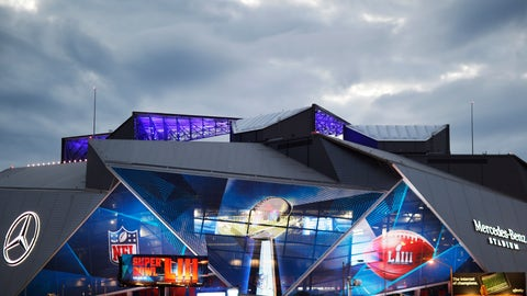<p>               Mercedes-Benz Stadium is lit up ahead of Sunday's NFL Super Bowl 53 football game between the Los Angeles Rams and New England Patriots in Atlanta, Saturday, Feb. 2, 2019. (AP Photo/David Goldman)             </p>