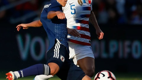 <p>               FILE - In this July 26, 2018, file photo, Japan forward Yuika Sugasawa (13) attempts to get past U.S. defender McCall Zerboni (5) during the second half of a Tournament of Nations soccer match in Kansas City, Kan. Zerboni is so dedicated to her soccer career that she once hawked random products to beachgoers in Southern California to make ends meet. Now 32, the savvy midfielder is getting her shot at the U.S. national team _ and a chance to make the roster for the World Cup this summer. She was named this week to the 23-player roster for the upcoming SheBelieves Cup tournament that kicks off Wednesday in Chester, Pennsylvania. (AP Photo/Colin E. Braley, File)             </p>
