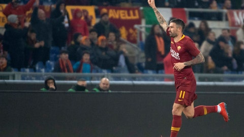 <p>               Roma's Aleksandar Kolarov jubilates after scoring against Bologna during the Italian Serie A soccer match between AS Roma and Bologna FC at Olimpico stadium in Rome, Italy, Monday Feb. 18, 2019.  (Maurizio Brambatti/ANSA via AP)             </p>