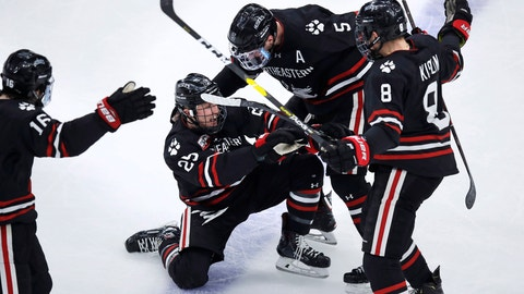 <p>               Northeastern forward Patrick Schule (25) is congratulated by teammates after his goal during the second period of the NCAA hockey Beanpot tournament championship game against Boston College in Boston, Monday, Feb. 11, 2019. (AP Photo/Charles Krupa)             </p>