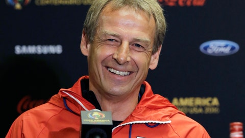<p>               FILE - In this June 20, 2016, file photo, then-U.S. men's soccer coach Jurgen Klinsmann talks to reporters during a Copa America Centenario news conference, in Houston.  Jurgen Klinsmann received a $3.35 million settlement of his contract with the U.S. Soccer Federation, according to the USSF's tax filing. His replacement, Bruce Arena, was given a $300,000 settlement during the fiscal year that ended March 31, 2018, according to the filing, which was released Monday, Feb. 18, 2019. (AP Photo/Eric Gay, File)             </p>
