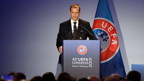 <p>               UEFA President Aleksander Ceferin delivers his speech during the 43rd UEFA congress in Rome, Thursday, Feb. 7, 2019.  As the only candidate for election, FIFA President Gianni Infantino is set to serve four more years as the leader of soccer's governing body. (AP Photo/Gregorio Borgia)             </p>