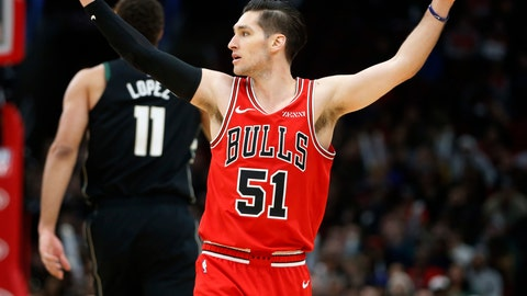 <p>               Chicago Bulls guard Ryan Arcidiacono (51) celebrates after a 3-point basket by teammate forward Lauri Markkanen against the Milwaukee Bucks during the first half of an NBA basketball game Monday, Feb. 25, 2019, in Chicago. (AP Photo/Nuccio DiNuzzo)             </p>