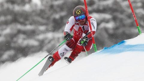 <p>               Austria's Marcel Hirscher speeds down the course during a men's World Cup giant-slalom, in Bansko, Bulgaria, Sunday, Feb. 24, 2019. (AP Photo/Gabriele Facciotti)             </p>