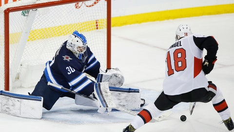 <p>               Ottawa Senators' Ryan Dzingel (18) scores against Winnipeg Jets goaltender Laurent Brossoit (30) during overtime in an NHL hockey game Saturday, Feb. 16, 2019, in Winnipeg, Manitoba. (John Woods/The Canadian Press via AP)             </p>