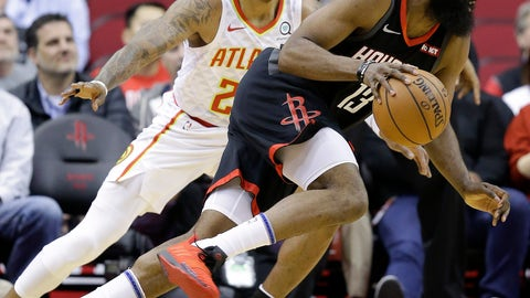 <p>               Houston Rockets guard James Harden, right, drives past Atlanta Hawks guard Kent Bazemore during the first half of an NBA basketball game, Monday, Feb. 25, 2018, in. Houston. (AP Photo/Eric Christian Smith)             </p>