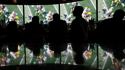 <p>               People watch Super Bowl LIII at the Westgate Superbook sports book, Sunday, Feb. 3, 2019, in Las Vegas. (AP Photo/John Locher)             </p>