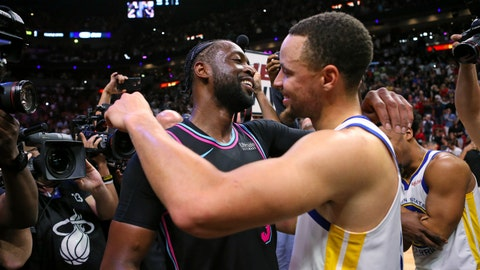 <p>               Miami Heat guard Dwyane Wade, left, greets Golden State Warriors guard Stephen Curry after hitting a 3-pointer at the buzzer to give the Heat the win in an NBA basketball game Wednesday, Feb. 27, 2019, in Miami. (David Santiago/Miami Herald via AP)             </p>