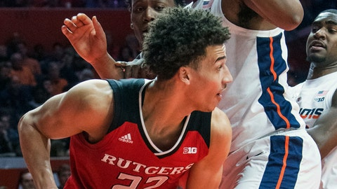 <p>               Rutgers guard Caleb McConnell (22) tries to get around Illinois center Adonis De La Rosa during the first half of an NCAA college basketball game in Champaign, Ill., Saturday, Feb. 9, 2019. (AP Photo/Robin Scholz)             </p>