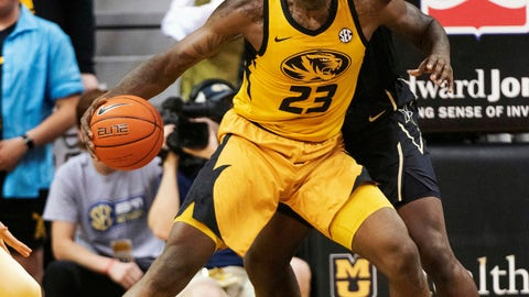 <p>               Missouri's Jeremiah Tilmon (23) backs up Vanderbilt's Simisola Shittu, back, during the first half of an NCAA college basketball game Saturday, Feb. 2, 2019, in Columbia, Mo. (AP Photo/L.G. Patterson)             </p>