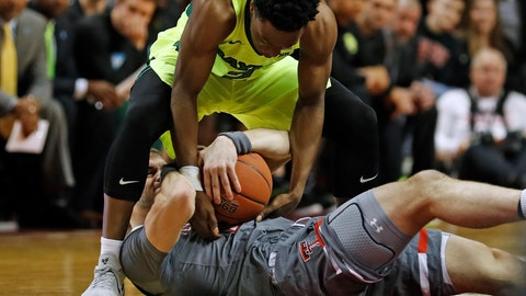 <p>               Baylor's Devonte Bandoo (2) tries to steal the ball from Texas Tech's Matt Mooney (13) during the first half of an NCAA college basketball game Saturday, Feb. 16, 2019, in Lubbock, Texas. (AP Photo/Brad Tollefson)             </p>
