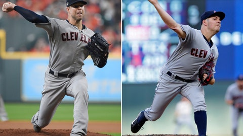 <p>               FILE - At left, in an Oct. 5, 2018, file photo, Cleveland Indians starting pitcher Corey Kluber delivers a pitch against the Houston Astros during the first inning in Game 1 of an American League Division Series baseball game, in Houston. At right, in a July 31, 2018, file photo, Cleveland Indians' Trevor Bauer throws against the Minnesota Twins during the first inning of a baseball game, in Minneapolis. The Indians swung a wrecking ball at their roster this offseason. And while the Indians made numerous moves, they didn't pull the trigger on a blockbuster trade involving All-Star pitchers Corey Kluber or Trevor Bauer. (AP Photo/File)             </p>