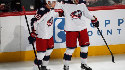 <p>               Columbus Blue Jackets right wing Oliver Bjorkstrand, right, celebrates his goal with defenseman Markus Nutivaara during the first period of an NHL hockey game against the Colorado Avalanche on Tuesday, Feb. 5, 2019, in Denver. (AP Photo/David Zalubowski)             </p>