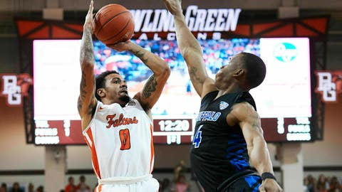 <p>               Bowling Green guard Michael Laster (0) shoots over Buffalo guard Davonta Jordan (4) in the second half of an NCAA college basketball game in Bowling Green, Ohio, Friday, Feb. 1, 2019. (AP Photo/Rick Osentoski)             </p>