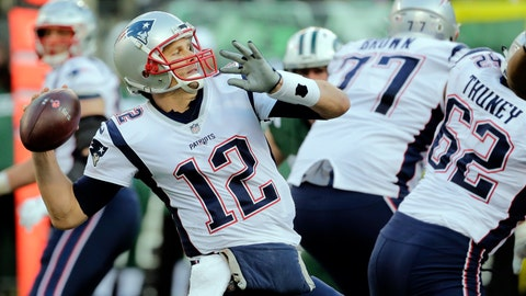 <p>               FILE - In this Nov. 25, 2018, file photo, New England Patriots quarterback Tom Brady (12) throws a pass as his offensive line blocks during the second half of an NFL football game against the New York Jets in East Rutherford, N.J. They're big boys with mean streaks and nasty attitudes on the field, yet the Patriots' offensive line still gets somewhat overlooked at times. During the playoffs, they've been as big a key as any position group by keeping Tom Brady clean and clearing the way for the running game. (AP Photo/Seth Wenig, File)             </p>