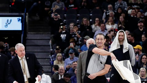 <p>               An official uses a towel to swat at a bat during the first half of an NBA basketball game between the San Antonio Spurs and the Brooklyn Nets, in San Antonio, Thursday, Jan. 31, 2019. (AP Photo/Eric Gay)             </p>
