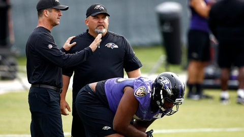 <p>               FILE - In this Aug. 8, 2017, file photo, Baltimore Ravens head coach John Harbaugh, left, speaks with then-senior offensive assistant/tight ends coach Greg Roman as offensive tackle Ronnie Stanley prepares to run a drill during an NFL football training camp practice in Owings Mills, Md. Roman is off to a running start in his new role as offensive coordinator of the Baltimore Ravens, working on a ground game that will coincide with the skills of agile quarterback Lamar Jackson. (AP Photo/Patrick Semansky)             </p>