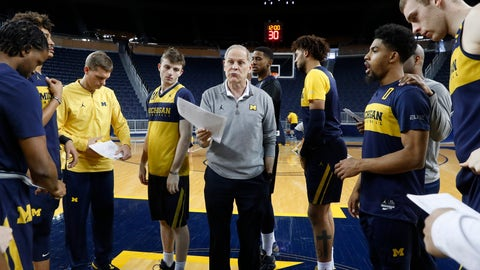 <p>               Michigan head basketball coach John Beilein talks during practice in Ann Arbor, Mich., Tuesday, Feb. 19, 2019. Beilein and Michigan State's Tom Izzo are friendly rivals, whose highly ranked NCAA college basketball teams will play for the first time this season on Sunday at Crisler Arena. As much as Beilein and Izzo genuinely like and respect each other, the highly competitive coaches want to win. (AP Photo/Paul Sancya)             </p>