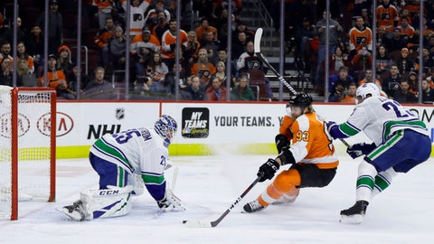<p>               Philadelphia Flyers' Jakub Voracek (93) scores a goal against Vancouver Canucks' Jacob Markstrom (25) as Alexander Edler (23) defends during the second period of an NHL hockey game, Monday, Feb. 4, 2019, in Philadelphia. (AP Photo/Matt Slocum)             </p>