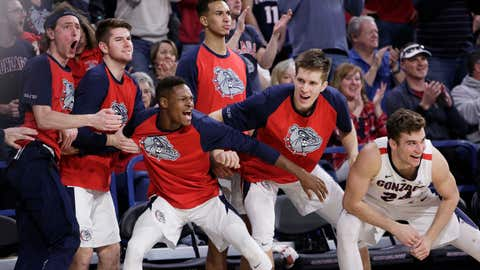 <p>               Players on the Gonzaga bench celebrate during the second half of an NCAA college basketball game against BYU in Spokane, Wash., Saturday, Feb. 23, 2019. Gonzaga won 102-68. (AP Photo/Young Kwak)             </p>