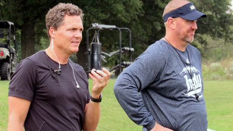"""<p>               In this 2017 file photo, director Greg Whiteley, left, and Independence Community College football coach Jason Brown watch a practice during a shoot for the Netflix series """"Last Chance U."""" in Independence, Kan. Jason Brown has resigned after an inflammatory series of text messages in which he allegedly told a German player: """"I'm your new Hitler."""" Brown said in a statement posted on social media that a story on the texts in the Montgomery County Chronicle made it """"nearly impossible to stay"""" at Independence Community College. (Dion Lefler/The Wichita Eagle via AP, File)             </p>"""