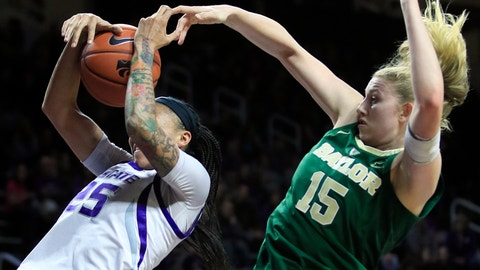 <p>               Baylor forward Lauren Cox (15) blocks a shot by Kansas State forward Jasauen Beard (25) during the first half of an NCAA college basketball game in Manhattan, Kan., Wednesday, Feb. 13, 2019. (AP Photo/Orlin Wagner)             </p>