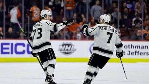 <p>               Los Angeles Kings' Tyler Toffoli, left, and Oscar Fantenberg celebrate after Toffoli's goal during a shootout in an NHL hockey game against the Philadelphia Flyers, Thursday, Feb. 7, 2019, in Philadelphia. (AP Photo/Matt Slocum)             </p>