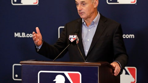 <p>               Rob Manfred, commissioner of Major League Baseball, speaks during a news conference at owners meetings Friday, Feb. 8, 2019, in Orlando, Fla. (AP Photo/John Raoux)             </p>