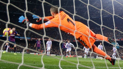 <p>               FC Barcelona's Lionel Messi shoots to score his side's opening goal from the penalty spot during the Spanish La Liga soccer match between FC Barcelona and Valladolid at the Camp Nou stadium in Barcelona, Spain, Saturday, Feb. 16, 2019. (AP Photo/Manu Fernandez)             </p>