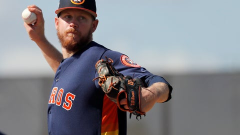 <p>               In this Feb. 15, 2018 file photo Houston Astros pitcher Chris Devenski throws to first during spring training baseball practice in West Palm Beach, Fla. Devenski and the Houston Astros avoided salary arbitration by agreeing to a one-year contract worth $1,525,000, Monday, Feb. 4, 2019. (AP Photo/Jeff Roberson, file)             </p>