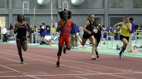 <p>               In this Thursday, Feb. 7, 2019 photo, Bloomfield High School transgender athlete Terry Miller, second from left, wins the final of the 55-meter dash over transgender athlete Andraya Yearwood, left, and other runners in the Connecticut girls Class S indoor track meet at Hillhouse High School in New Haven, Conn. In the track-and-field community in Connecticut, the dominance of Miller and Yearwood has stirred resentment among some competitors and their families. (AP Photo/Pat Eaton-Robb)             </p>