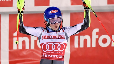 <p>               United States' Mikaela Shiffrin celebrates winning an alpine ski World Cup women's parallel slalom city event, celebrates with second-placed Sweden's Andre Myhrer, left, and third-placed Austria's Marco Schwarz, in Hammarbybacken, Stockholm, Sweden, Tuesday, Feb. 19, 2019. (Pontus Lundahl/TT via AP)             </p>