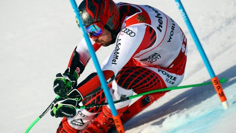 <p>               Austria's Marcel Hirscher competes during the men's giant slalom, at the alpine ski World Championships in Are, Sweden, Friday, Feb. 15, 2019. (AP Photo/Alessandro Trovati)             </p>