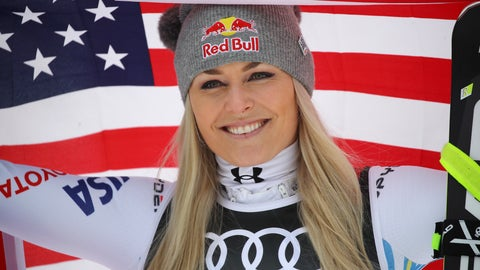 <p>               United States' Lindsey Vonn celebrates after taking third place during the women's downhill race, at the alpine ski World Championships in Are, Sweden, Sunday, Feb. 10, 2019. (AP Photo/Marco Trovati)             </p>