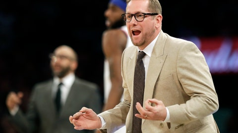 <p>               Toronto Raptors head coach Nick Nurse reacts to a call during the first half of an NBA basketball game against the New York Knicks, Saturday, Feb. 9, 2019, in New York. (AP Photo/Frank Franklin II)             </p>