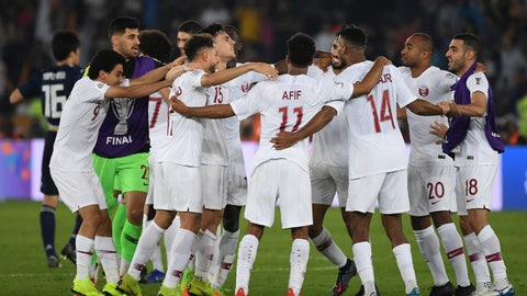 <p>               Players of Qatar run to celebrate after winning the AFC Asian Cup final match between Japan and Qatar in Zayed Sport City in Abu Dhabi, United Arab Emirates, Friday, Feb. 1, 2019. (AP Photo/Hassan Ammar)             </p>