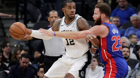<p>               San Antonio Spurs center LaMarcus Aldridge (12) is pressured by Detroit Pistons forward Blake Griffin (23) during the first half of an NBA basketball game in San Antonio, Wednesday, Feb. 27, 2019. (AP Photo/Eric Gay)             </p>