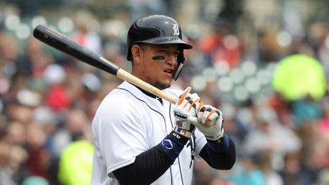 <p>               FILE - In this April 21, 2018, file photo, Detroit Tigers' Miguel Cabrera prepares to bat during the third inning of a baseball game against the Kansas City Royals, in Detroit. This will be an important season for Detroit's minor league prospects, and a year from now, Tigers fans might have a better sense of how soon they might be able to watch winning baseball again. In the meantime, Detroit will hope for a healthier season for slugger Miguel Cabrera, who played just 38 games last year before having biceps surgery. (AP Photo/Carlos Osorio, File)             </p>