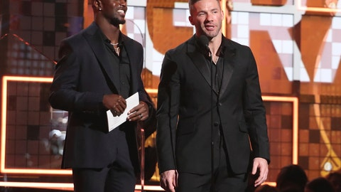 <p>               Devin McCourty, left, and Julian Edelman present the award for best pop duo or group performance at the 61st annual Grammy Awards on Sunday, Feb. 10, 2019, in Los Angeles. (Photo by Matt Sayles/Invision/AP)             </p>