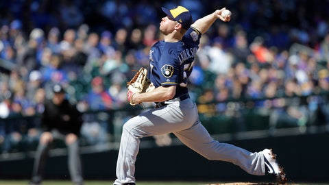 <p>               Milwaukee Brewers' Chase Anderson throws during the first inning of a spring training baseball game against the Chicago Cubs, Saturday, Feb. 23, 2019, in Mesa, Ariz. (AP Photo/Darron Cummings)             </p>