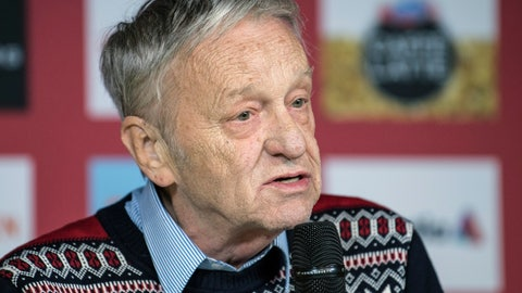 """<p>               FILE - In this Feb. 19, 2017, file photo, Gian Franco Kasper, president of the International Ski Federation, speaks during a press conference in St. Moritz, Switzerland. A group of winter sports athletes and the world's biggest snowboard maker want the president of the International Ski Federation to resign after he spoke of """"so-called climate change"""" and said he would rather deal with dictators than argue with environmentalists. Climate advocacy group Protect Our Winters put out an open letter Friday, Feb. 8, 2019, calling on 75-year-old Gian Franco Kasper to step aside. (Peter Schneider/Keystone via AP, File)             </p>"""