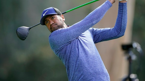 <p>               Tony Finau hits his tee shot on the ninth hole as second round play continues during the Genesis Open golf tournament at Riviera Country Club on Saturday, Feb. 16, 2019, in the Pacific Palisades area of Los Angeles. (AP Photo/Ryan Kang)             </p>