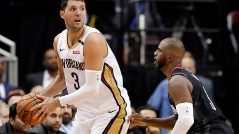 <p>               FILE - In this  Wednesday, Oct. 17, 2018 file photo, New Orleans Pelicans forward Nikola Mirotic (3) looks to pass the ball over Houston Rockets guard Chris Paul (3) during the second half of an NBA basketball game in Houston. Toronto, Milwaukee and Philadelphia made their moves. Anthony Davis will have to wait until the summer for his. The New Orleans Pelicans held onto Davis but dealt Nikola Mirotic to the Bucks, one of the Eastern Conference contenders who fortified their teams on Thursday, Feb. 7, 2019 before the NBA trade deadline. The Raptors are getting center former All-Star center Marc Gasol from Memphis.(AP Photo/Michael Wyke, File)             </p>