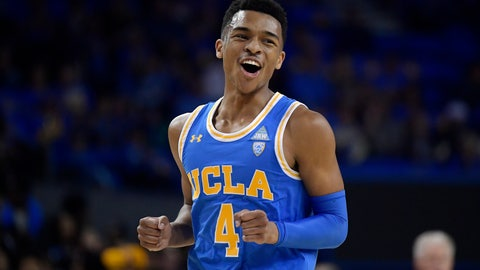 <p>               UCLA guard Jaylen Hands reacts after hitting a 3-point shot during the first half of an NCAA college basketball game against Southern California Thursday, Feb. 28, 2019, in Los Angeles. (AP Photo/Mark J. Terrill)             </p>