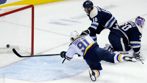 <p>               St. Louis Blues forward Vladimir Tarasenko, left, of Russia, scores past Columbus Blue Jackets forward Alexander Wennberg, center, of Sweden, and goalie Joonas Korpisalo, of Finland, during the third period of an NHL hockey game in Columbus, Ohio, Saturday, Feb. 2, 2019. The Blues won 4-2. (AP Photo/Paul Vernon)             </p>