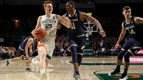 <p>               Miami forward Sam Waardenburg (21) drives against Notre Dame forward Juwan Durham (11) during the first half of an NCAA college basketball game, Wednesday, Feb. 6, 2019 in Coral Gables, Fla. (David Santiago/Miami Herald via AP)             </p>