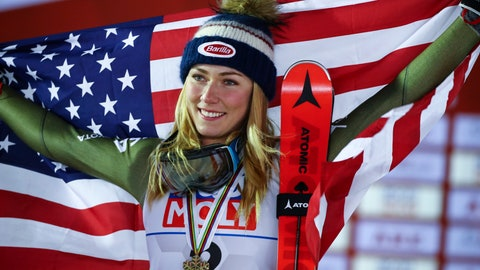 <p>               United States' Mikaela Shiffrin celebrates after winning g the bronze medal in the women's giant slalom, at the alpine ski World Championships in Are, Sweden, Thursday, Feb. 14, 2019. (AP Photo/Marco Trovati)             </p>