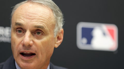 <p>               FILE - In this Nov. 27, 2018 file photo Baseball Commissioner Rob Manfred speaks during a news conference at MLB headquarters in New York. Pitch clocks are coming for spring training games. Looking to speed the pace of play in baseball, Manfred said, Sunday, Feb. 17, 2019, pitchers will have 20 seconds to deliver to the plate when teams play exhibition games in Arizona and Florida beginning this week. (AP Photo/Seth Wenig, file)             </p>