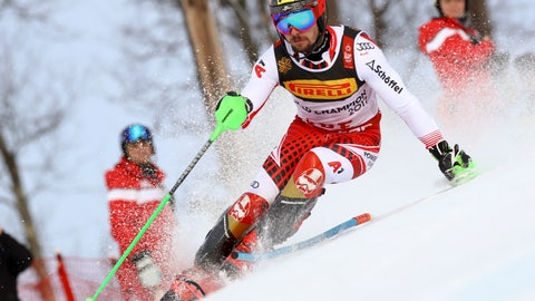 <p>               Austria's Marcel Hirscher competes during the men's slalom, at the alpine ski World Championships in Are, Sweden, Sunday, Feb. 17, 2019. (AP Photo/Alessandro Trovati)             </p>